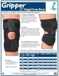 "Gripper 12"" Hinged Knee Brace Brochure"
